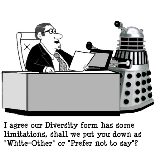 Cartoon: Diversity Who (medium) by cartoonsbyspud tagged cartoon,spud,hr,recruitment,office,life,outsourced,marketing,it,finance,business,paul,taylor