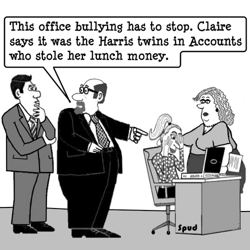 Cartoon: Those Harris Twins again (medium) by cartoonsbyspud tagged cartoon,spud,hr,recruitment,office,life,outsourced,marketing,it,finance,business,paul,taylor