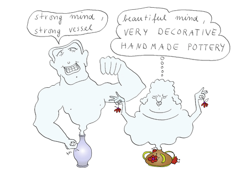 Cartoon: Strong mind (medium) by ailuj tagged bodybuilding,strong,mind,ghost,bottle,selfmade,pottery