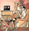 Cartoon: TV now on tablet devices and PCs (small) by ian david marsden tagged tv,television,online,tablet,device,pc,computer,network,cable,cartoon,illustration,illustrator,marsden