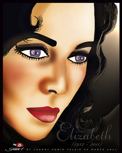 Cartoon: Elizabeth Taylor (medium) by saadet demir yalcin tagged saadet,syalcin,sdy,turkey,liztaylor