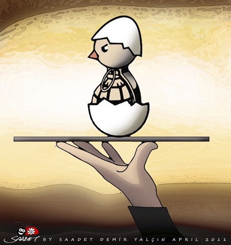 Cartoon: Special Menu (medium) by saadet demir yalcin tagged saadet,sdy,syalcin,turkey,war,peace,world,egg,grenade