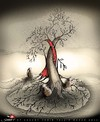 Cartoon: to bid farewell (small) by saadet demir yalcin tagged saadet syalcin sdy turkey world human peace