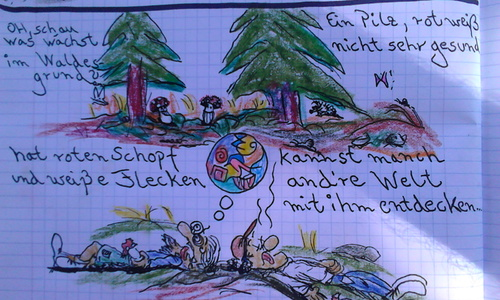 Cartoon: pilzähhh (medium) by wheelman tagged pilze,wald,trip