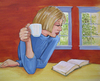 Cartoon: after dinner (small) by michaelscholl tagged cup,woman,reading,windows