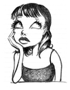 Cartoon: andi girl (small) by michaelscholl tagged girl,looking,up,chin,thinking,sketch