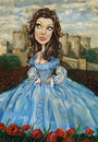 Cartoon: Blue Sunday (small) by michaelscholl tagged woman,cartoon,portrait,dress,castle,poppies,sexy