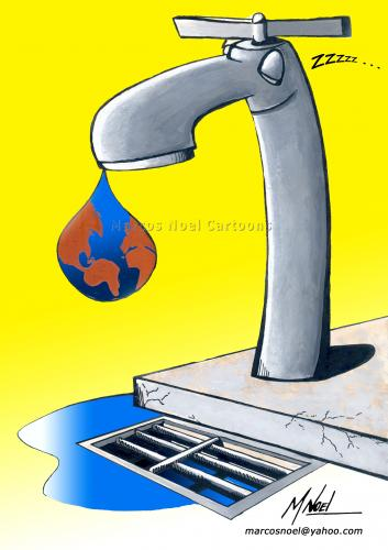 Cartoon: Water - The Last Drop (medium) by Marcos Noel tagged environment,world,comic,global