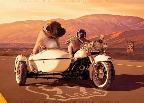 Cartoon: Beware of the Harley dogs (medium) by fantasio tagged harley,dogs,fantasy,route,66,mastiff,mountains