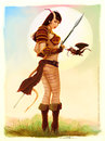 Cartoon: Dragonette (small) by fantasio tagged dungeons,and,dragons,pinup,fantasy,tiefling,character,digital,watercolor,painting
