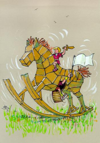 Cartoon: Trojan horse (medium) by Liviu tagged trojan,horse,dizzines,