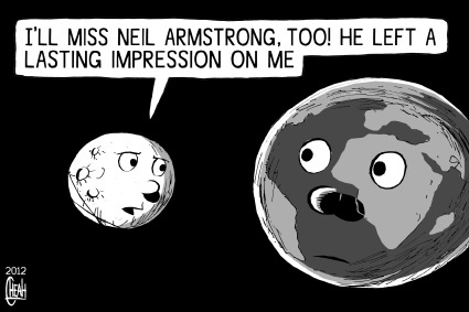 Cartoon: Neil Armstrong (medium) by sinann tagged neil,armstrong,miss,impression,moon,earth
