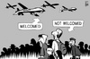 Cartoon: Migrants and drones (small) by sinann tagged migrants,refugees,drones,welcome