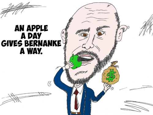 Cartoon: Ben Bernanke caricature Apple (medium) by BinaryOptions tagged ben,bernanke,us,federal,usd,reserve,chairman,bank,monetary,policy,chief,apple,appl,dollar,buck,america,american,financial,political,caricature,editorial,business,comic,cartoon,optionsclick,binary,options,trader,option,trading,trade,finance,news,economic,economy,satire,parody,banking
