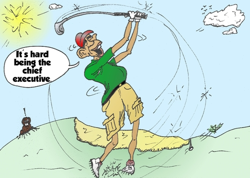 Cartoon: President Obama golf caricature (medium) by BinaryOptions tagged binary,option,options,trade,trader,trading,optionsclick,politics,chief,executive,barack,obama,caricature,webcomic,comic,cartoon,editorial,financial,budget,political,news