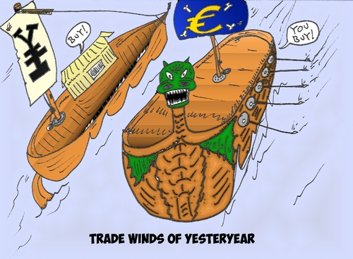 Cartoon: Tradewinds of yesteryear cartoon (medium) by BinaryOptions tagged optionsclick,binary,option,options,trade,trader,trading,eur,jpy,euro,japanese,yen,europe,financial,economic,business,buy,sell,tradewinds,yesteryear,news,editorial
