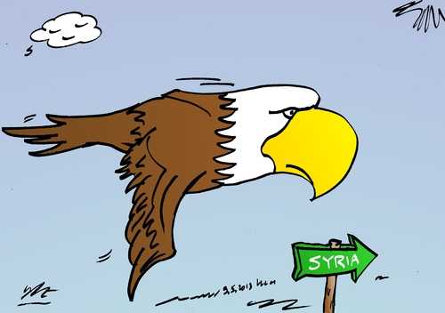 Cartoon: US Bald Eagle on way to Syria (medium) by BinaryOptions tagged syria,wmd,bald,eagle,usa,economic,bird,power,investor,trading,binary,option,options,trade,investment,finances,money,optionsclick,editorial,cartoon,caricature,political,business,news