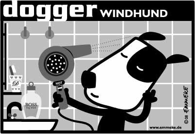 Cartoon: dogger-windhund (medium) by EMMEKE tagged foen,hairdryer,bathroom,dog,emmeke,dogger,boss,after,shave