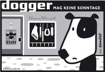 Cartoon: dogger (medium) by EMMEKE tagged animals,dogger,character,comic,tiere,dog,meat,butcher,sunday,store,hund,wurst,metzger,sonntag,dogs,design,vector,cartoon,bw,ladenschluß,verkaufsoffen