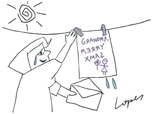 Cartoon: Greetings from Granddaughter (medium) by Lopes tagged family,christmas,xmas,letter,card,greeting,clothesline,sun,envelope,grandmother,grandma,child