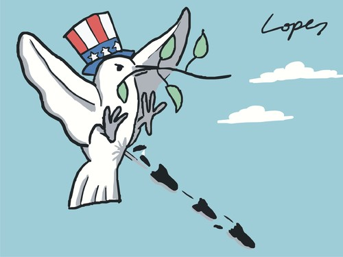 Cartoon: Peace by Obama (medium) by Lopes tagged peace,dove,war,america,united,states,obama,bomb,missile,shit,uncle,sam,afghanistan