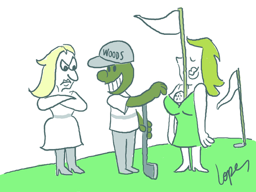 Cartoon: Tiger Woods (medium) by Lopes tagged golf,field,tiger,woods,wife,flag,ball,green,relationship,cheating