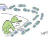 Cartoon: Carbon Footprint (small) by Lopes tagged detective footprint environment car investigation pollution magnifying glass