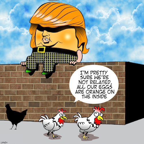 Cartoon: Agent orange (medium) by toons tagged donald,trump,humpty,dumpty,eggs,chickens,donald,trump,humpty,dumpty,eggs,chickens