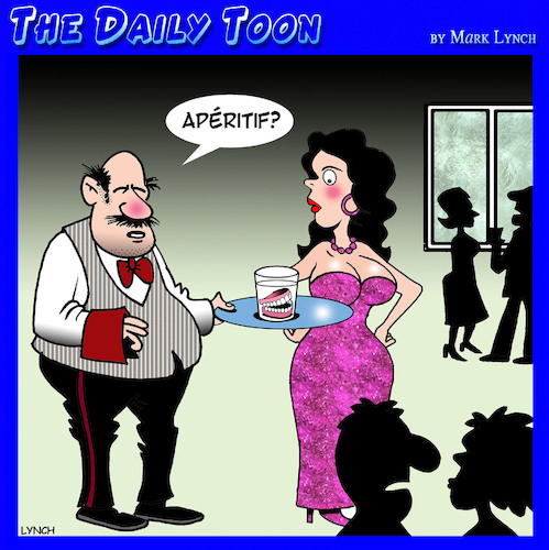 Cartoon: Aperitif (medium) by toons tagged cocktails,false,teeth,dentures,cocktail,party,dentist,cocktails,false,teeth,dentures,cocktail,party,dentist