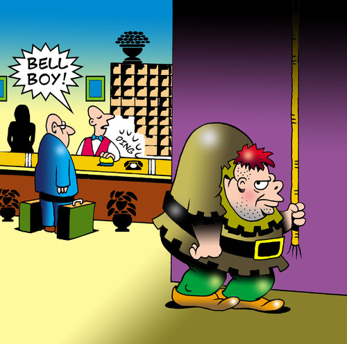 Cartoon: Bell boy (medium) by toons tagged the,hunchback,of,notre,dame,bell,boy,baggage,suitcase,customer,ringer,france,church,hotel,reception,room,service