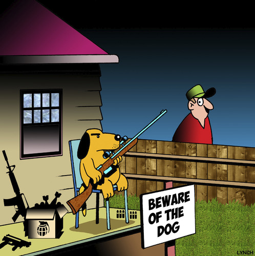 Cartoon: Beware of the dog (medium) by toons tagged dogs,guns,canines