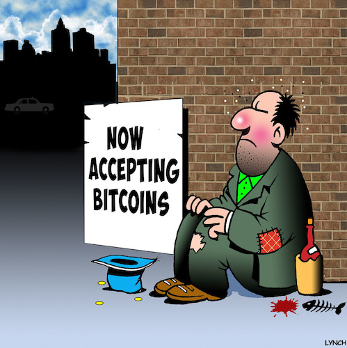 Cartoon: Bitcoins (medium) by toons tagged bitcoins,alternative,currency,begging,tramp,bitcoins,alternative,currency,begging,tramp