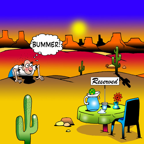Cartoon: Bummer (medium) by toons tagged restaurant,dining,desert,island,food,drinks,marooned,reserved,signs,disappointment,cafe,snack,waiters