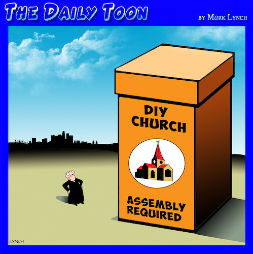 Cartoon: Church assembly (medium) by toons tagged diy,church,assembly,ikea,do,it,yourself,builder,diy,church,assembly,ikea,do,it,yourself,builder