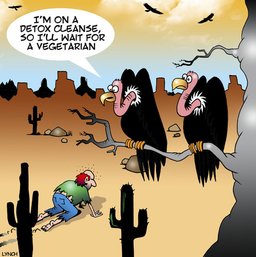 Cartoon: Cleanse diet (medium) by toons tagged detox,cleanse,diets,vultures,birds,animals,desert,detox,cleanse,diets,vultures,birds,animals,desert