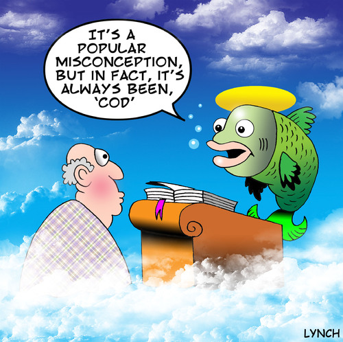 Cartoon: Cod (medium) by toons tagged god,heaven,religion,hell,fish,cod,afterlife,death,angels,clouds,bible,halo