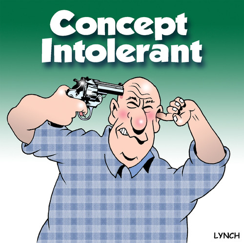 Cartoon: concept intolerant (medium) by toons tagged suicide,guns,foolish,concept,pistols,firearms,deaf