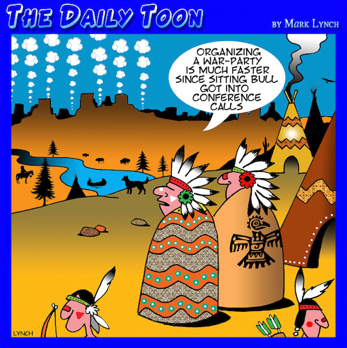 Cartoon: Conference call (medium) by toons tagged smoke,signals,conference,call,war,party,sitting,bull,american,indians,smoke,signals,conference,call,war,party,sitting,bull,american,indians