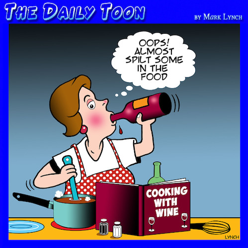 Cartoon: Cooking with wine (medium) by toons tagged cooking,wine,drinkers,with,chef,cooking,wine,drinkers,with,chef