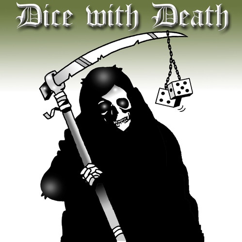 Cartoon: dice with death (medium) by toons tagged dice,death,apocolypse,horsemen,afterlife,sayings,grim,reaper,luck,craps,games,chance