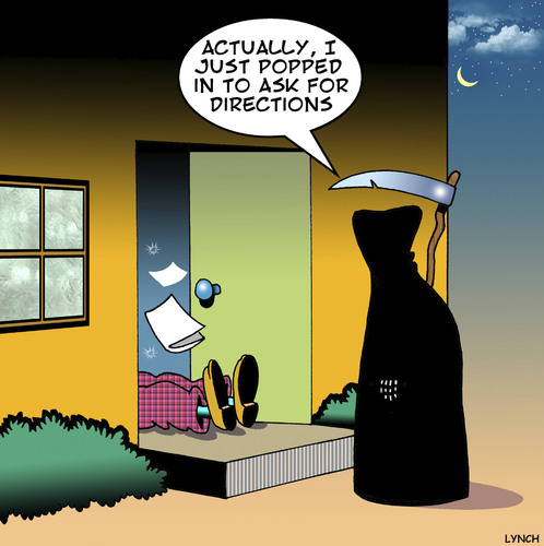 Cartoon: Directions (medium) by toons tagged grim,reaper,directions,heart,attack,shock,apocalypse,coronary,grim,reaper,directions,heart,attack,shock,apocalypse,coronary