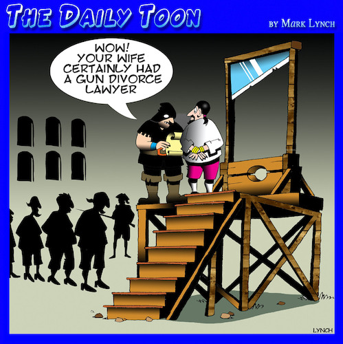 Cartoon: Divorce lawyers (medium) by toons tagged guillotine,capital,punishment,divorce,lawyers,marriage,breakup,guillotine,capital,punishment,divorce,lawyers,marriage,breakup