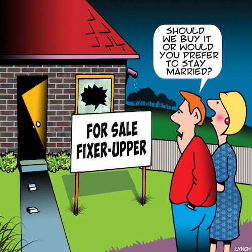 Cartoon: Fixer upper (medium) by toons tagged house,sales,real,estate,fixer,upper,renovators,delight,home,buyers,newly,weds,house,sales,real,estate,fixer,upper,renovators,delight,home,buyers,newly,weds