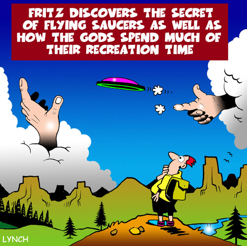 Cartoon: Flying saucer (medium) by toons tagged frisbee,god,flying,saucer,hiking,camping