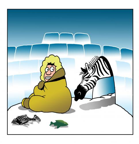 Cartoon: global warming (medium) by toons tagged zebra,eskimo,igloo,global,warming,environment,ice,arctic