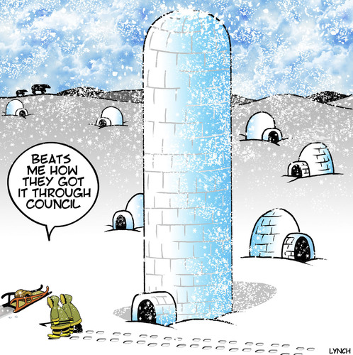 Cartoon: High rise igloo (medium) by toons tagged igloos,eskimo,high,rise,buildings,council,regulations,dwelling,apartment,living,igloos,eskimo,high,rise,buildings,council,regulations,dwelling,apartment,living