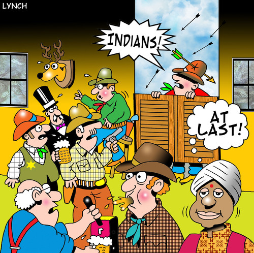 Cartoon: Indians (medium) by toons tagged india,cowboys,indians,turban,punjab,wild,west,saloons,beer,apaches,bow,and,arrow,westerns