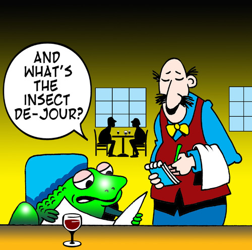 Cartoon: insect de jour (medium) by toons tagged restaurant,frogs,legs,soup,de,jour,menu,food,waiters,cafe,toad,waitress,stops