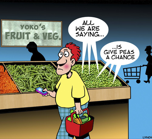 Cartoon: John and Yoko (medium) by toons tagged give,peace,chance,vegetables,peas,food,john,and,yoko,give,peace,chance,vegetables,peas,food,john,and,yoko