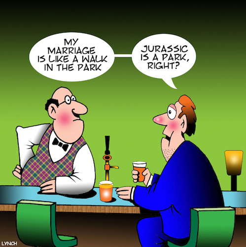 Cartoon: Jurrasic park (medium) by toons tagged jurrasic,park,turbulent,marriage,complaining,to,barkeeper,whinging,jurrasic,park,turbulent,marriage,complaining,to,barkeeper,whinging